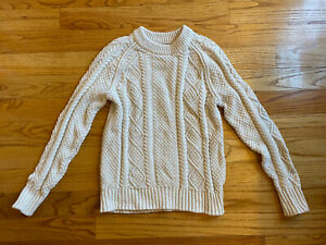 LL Bean Signature Sweater Size L Fisherman Cable Knit Ivory Cotton Chunky
