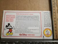 CARTOLINA WALT DISNEY - HOME VIDEO - TOBOLLINO - cm 16 x cm 9 NUOVA GIUGNO 1991