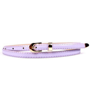 Womens Leather Dress Belt Pin Buckle Skinny Thin Narrow Waistband Waist Jewelry