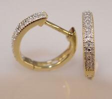 Yellow  Gold and diamond kids huggie Earrings  children jewelry baby Earrings