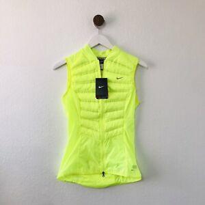 Nike NWT Aeroloft 800 Yellow Neon Down Vest Womens XS