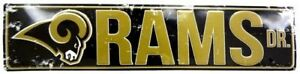 """LOS ANGELES RAMS STREET METAL 24X5.5"""" SIGN DRIVE NFL DR ROAD AVE DISTRESSED"""