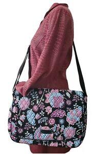 Vera Bradley Black Floral Large Multipurpose Crossbody Shoulder Bag
