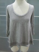 Theory Silk Detail 3/4 Sleeve Scoop Neck Tee Baby Doll Tunic Shirt  Size S