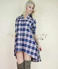 Chic HONEY PUNCH Country COWGIRL Boho Trapeze PLaid Flannel Tunic Shirt Dress S