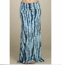 Long Boho Teal and White Tie-Dye Maxi Skirt ~ Size Small