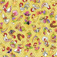 Loralie Harris Chicken Rooster Toss Yellow Cotton Fabric Chicken Chique - YARD