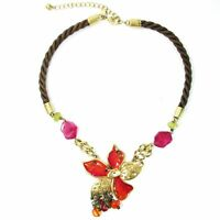 Laura Ashley Statement Enamel Flower Gold Tone Necklace Orange Pink Twisted Cord