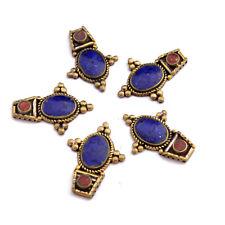 Lapis Coral Brass 5 Necklace Spacers Tibetan Nepalese Handmade Tibet Nepal NK386