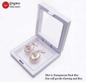 Trendy 20mm Pink Oval Natural Pearl Dangle Earring for Women Fine Jewelry ear718