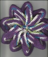 Handmade Crocheted Star Twist Hot Pad, Potholder,Trivet, Doily-Purple,Green,Blue