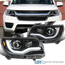 For 15-20 Chevy Colorado Pearl Black Projector Headlights w/ LED DRL Left+Right