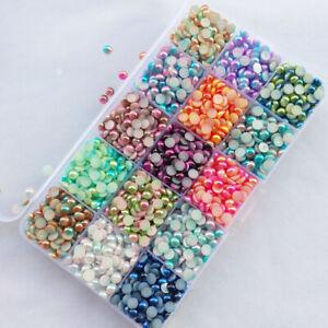 5Sizes Assorted 15 Colors Gradient Color Half Pearl Bead Flat Back Gem Scrapbo