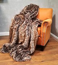 Kuscheldecke Fellimitat Wohn Sofa Decke Webpelz Hochflor 150x200cm Steppenwolf