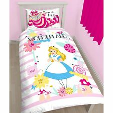 ALICE IN WONDERLAND CURIOUS SINGLE DUVET COVER WITH PILLOWCASE KIDS BEDDING NEW