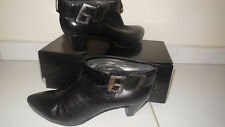Ladies Miss Sixty Black Leather Heel Boots Size 41