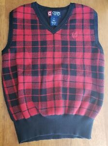 Chaps Boys 7 Red Navy Checkered V - Necked Sweater Vest 100% Cotton Solid Back