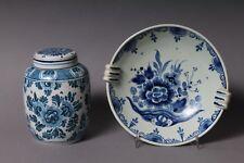 Delft Holland Alte Teedose und Schale Blumen Blau