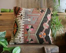 (40*40cm, 16inch) Hand woven kilim cover antique slitweave dusty pink orange