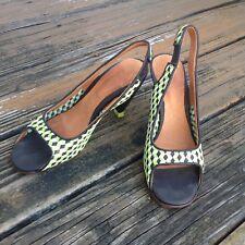 Chie Mihara Yellow Black Checker Peep Toe Heels Sz 7.5 EU 37.5 Slingback Shoes