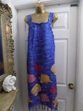 NEW Ladies Blue/Multi Print Tassel Hem Summer Dress/Beach Cover Up size 14/16