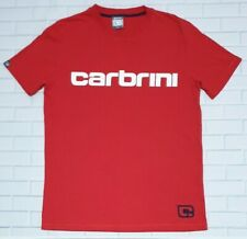 Mens CARBRINI T-Shirt Size M Red Black Embroidered Logo Crew Neck Cotton Casual
