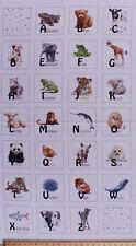 "23.25"" X 44"" Panel Baby Animal Alphabet ABCs Kids Cotton Fabric Panel D575.67"