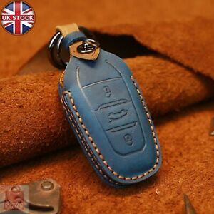Genuine Leather Car Key Fob Shell Case Cover for Peugeot-208 3008 For Citroen C4