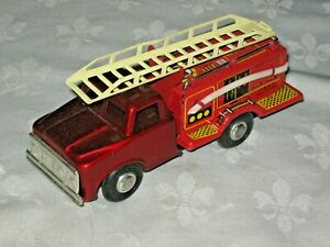 A Friction Drive Tinplate Chinese MF-163 Lithographed Hinged Ladder Fire Truck