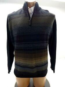 COTTON REEL MENS GRAY BROWN BLACK MERINO WOOL BLEND 1/4 ZIP SWEATER SIZE M