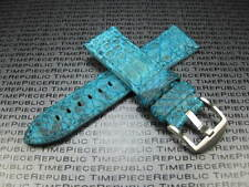 22mm Genuine PYTHON Skin Leather Strap Sky Blue Band Tang Buckle PAM V