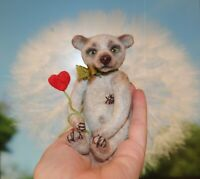 Felted mini bear, bear ooak toy, artist bear, Valentines day bear with heart