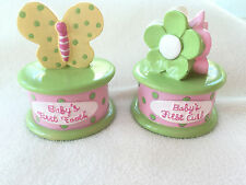 BABY TOOTH AND CURL KEEPSAKE HOLDER SET - BUTTERFLY AND FLOWER - NEW
