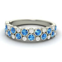 Round Real 14K White Gold 0.91Ct Natural Diamond Blue Topaz Function Wear Ring