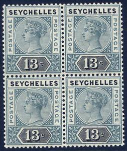SEYCHELLES 1890-92 DIE II 13C GREY & BLACK VERY FINE UNMOUNTED MINT BLOCK OF 4