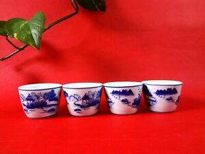 Handmade Japanese Classic Style Tea Cups 4 cups/set Hand Printed (Blue) (WJ-30)