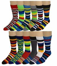 Differentttouch 12 Pairs Men Colorful Fashion Assorted Stripes Dress Socks 10-13