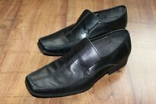 CLARKS SIZE UK 10 MENS BLACK LEATHER MOCCASIN IN VERY GOOD CONDITION*
