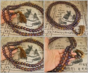 Antique Jade Praying Necklace Bead Mala Wat Phra Kaew Thai Powerful Amulet 53""