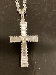 "0.69 Carat Natural Diamond  Cross Pendant 18 karat White Gold 16"" chain"