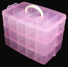 Multi Empty Plastic 3-layer Storage Box Case Nail Art Craft Makeup Random Color