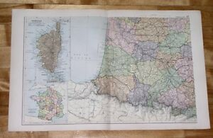 1908 ANTIQUE MAP OF SOUTHERN FRANCE / BEARN PYRENEES AQUITAINE / CORSICA