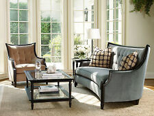 Modern Design Living Room Couch Set - Wood Trim Blue Fabric Sofa & Tan Chair R8G