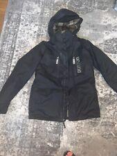 Burton Black Dryride Ski Snowboarding Jacket Size L With Green Plaid Flannel