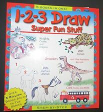 1-2-3 DRAW Super Fun Stuff 5 books in 1 Knights Wild Animals Dinosaurs Pets Cars