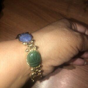 Beautiful Vtg Monet Egyptian Scarab Gold Tone   bracelet Watch