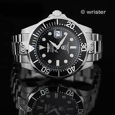 Invicta Grand Diver Automatic 24 Jewel Black Silver Stainless Steel Mens Watch !