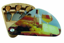 Apollo Glass Cheese Wedge Cutting And Serving Board With Utensils Sliding Glass