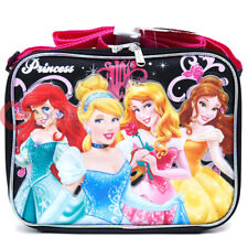 Disney Princess School Lunch Bag Snack Box Cinderella Mermaid Aurora Belle Black