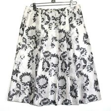 Ann Taylor - Womens 2 (XS) - Shimmery Gray Floral Silk Blend Pleated Skirt